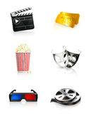 Film, icon set. Film icon set, illustration on white Royalty Free Stock Photography