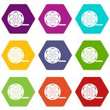 Film icon set color hexahedron. Film icon set many color hexahedron isolated on white vector illustration Royalty Free Stock Photography