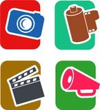 Film Icon Set. A set of four, two color icons on the theme of film and media objects Stock Images
