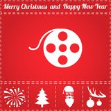 Film Icon Vector. And bonus symbol for New Year - Santa Claus, Christmas Tree, Firework, Balls on deer antlers Royalty Free Stock Photos