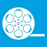 Film icon white. Isolated on blue background vector illustration Stock Photos