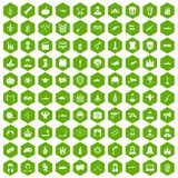 100 film icons hexagon green. 100 film icons set in green hexagon isolated vector illustration Royalty Free Illustration