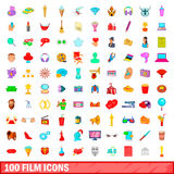 100 film icons set, cartoon style. 100 film icons set in cartoon style for any design illustration Royalty Free Stock Photo