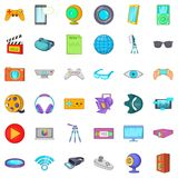 Film icons set, cartoon style. Film icons set. Cartoon style of 36 film vector icons for web isolated on white background Royalty Free Stock Photo