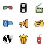 Film icons set, cartoon style. Film icons set. Cartoon illustration of 9 film vector icons for web Stock Images