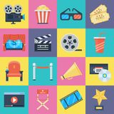 Film icons set. Movie symbols of video camera and big screen, motion-picture medium or film industry. Vector flat style cartoon illustration isolated on white Stock Image
