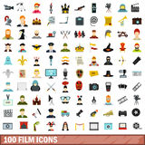 100 film icons set, flat style Royalty Free Stock Photo