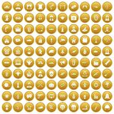 100 film icons set gold. 100 film icons set in gold circle isolated on white vectr illustration Stock Image