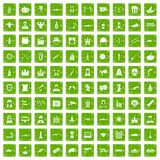 100 film icons set grunge green. 100 film icons set in grunge style green color isolated on white background vector illustration Stock Illustration