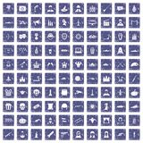 100 film icons set grunge sapphire. 100 film icons set in grunge style sapphire color isolated on white background vector illustration Royalty Free Stock Image