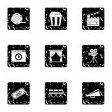 Film icons set, grunge style. Film icons set. Grunge illustration of 9 film vector icons for web Stock Photography