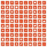 100 film icons set grunge orange. 100 film icons set in grunge style orange color isolated on white background vector illustration Stock Image