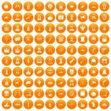 100 film icons set orange. 100 film icons set in orange circle isolated vector illustration Stock Image