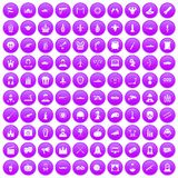 100 film icons set purple. 100 film icons set in purple circle isolated vector illustration Royalty Free Stock Photos