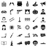 Film icons set, simle style. Film icons set. Simple style of 36 film vector icons for web isolated on white background Royalty Free Stock Photos
