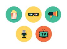Film icons. Vector multimedia set Royalty Free Stock Photos