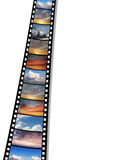 Film with images of skies. Over white background Royalty Free Stock Images
