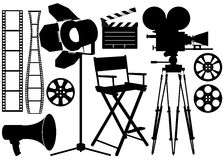 Film Industry. Silhouette icons on the white Stock Photos