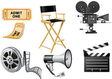 Film Industry. Attributes - film, movie camera and Film Slate Royalty Free Stock Image