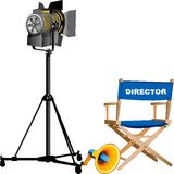 Film Industry. Abstract vector illustration of movie director Stock Photo
