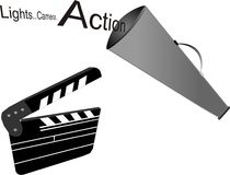 Film industry clapboard and megaphone. Lights..Camera.. Action.. from the movie set with megaphone and clapboard Stock Image