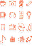 Film Industry Icons. Set of 16 multimedia icons in red Royalty Free Stock Image