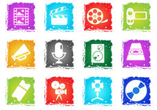Film Industry Icons. Film Industry simply symbols in grunge style for user interface design Royalty Free Stock Images