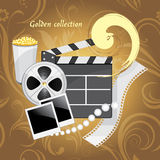 Film industry objects. Golden collection. Illustration Royalty Free Stock Photo