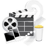 Film industry objects. Isolated on the white. Illustration Royalty Free Stock Photos