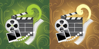Film industry objects on the ornamental background. Illustration Stock Image