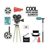 Film, insieme dell'icona dell'illustrazione di vettore di produzione cinematografica illustrazione vettoriale