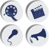 film inställda symboler attributen av filmen stock illustrationer