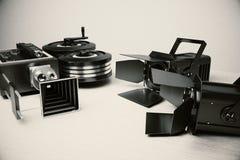Film kamery i rocznika filmu narzędzia zdjęcie stock