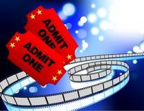 Film-Karten mit Filmbandspuleinternet-Hintergrund Lizenzfreies Stockfoto