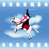 Film Knight. Vector illustration with a Horse Knight against a cloud sky on film strip like background Royalty Free Stock Photography