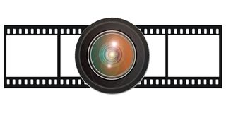 Film with lens Royalty Free Stock Photography