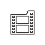 Film line icon, outline vector sign, linear style pictogram isolated on white Stock Photos