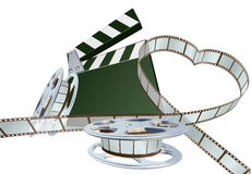 Film lover concept. Film strip forming heart shape with clapper board and reels. Space for copy in the centre Royalty Free Stock Photos