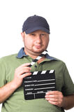 Film maker with film slate Royalty Free Stock Photography