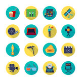 Film making Attributes Flat Round Icons Collection. Filmmaking and movie release attributes flat round icons collection with film bobbin and tickets isolated Stock Photography