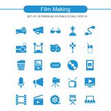 Film making icons set blue. For web design and application interface, also useful for infographics. Vector illustration Stock Photos