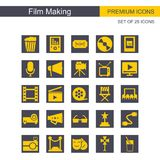 Film making icons set grey and yellow. For web design and application interface, also useful for infographics. Vector illustration Stock Photos