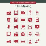 Film making icons set red. For web design and application interface, also useful for infographics. Vector illustration Stock Images