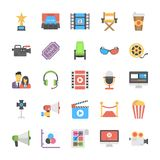 Film Making and Post Production Flat Icon Designs. Keeping in view the requirements of media industry this set is designed with creative flat icons Royalty Free Stock Photo