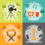 From Film Making To Awards Concept. With premiere directing movie equipment drinks snacks stars  vector illustration Royalty Free Stock Photography