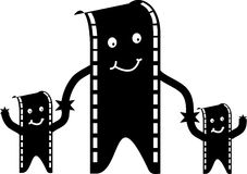Film man and family. Illustration of a film man and family Royalty Free Stock Photos