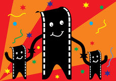 Film man and family with party. Background Royalty Free Stock Images