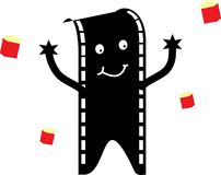 Film man with popcorn bags. Illustration of a film man with popcorn bags Stock Photo