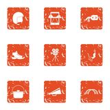 Film marathon icons set, grunge style. Film marathon icons set. Grunge set of 9 film marathon vector icons for web isolated on white background Royalty Free Stock Photography