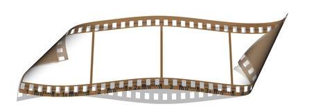 Film mit 4 leeren Bildern getrennt auf einem Weiß Stockbilder